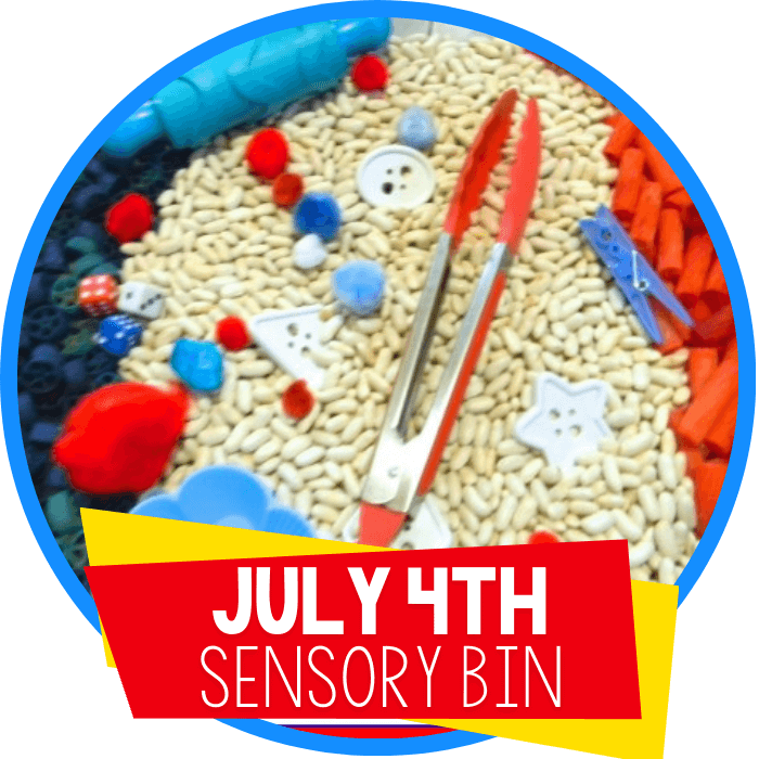 Red, White, Blue Sensory Bin for the 4th of July