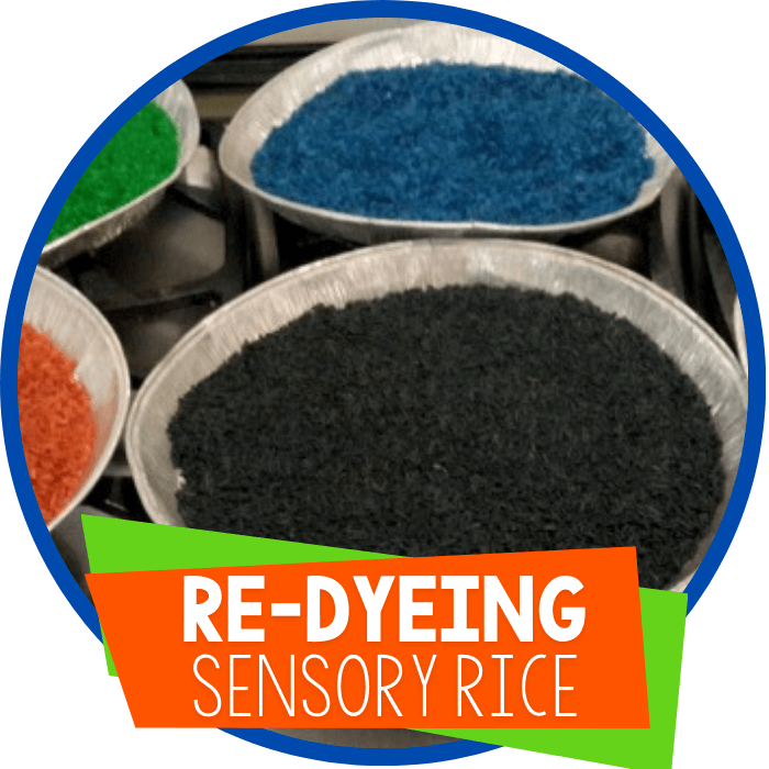 Re-dyeing Rice for Sensory Play