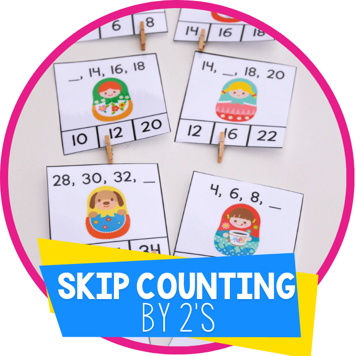 Free Printable Skip Counting by 2s Clip Cards