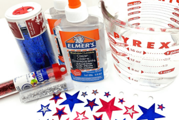 Overhead view of the supplies for the Patriotic DIY Calm Down Jar.