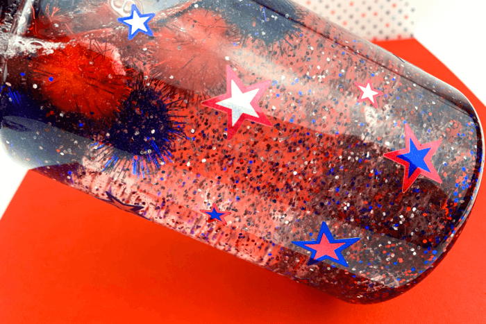 The finished Patriotic DIY Calm Down Jar.