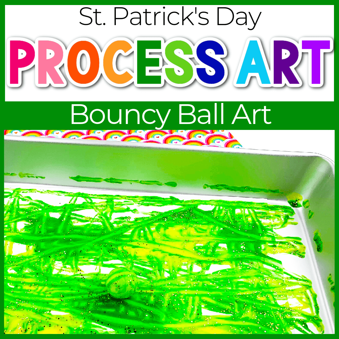 St. Patrick's Day themed bouncy ball painting process art for kids