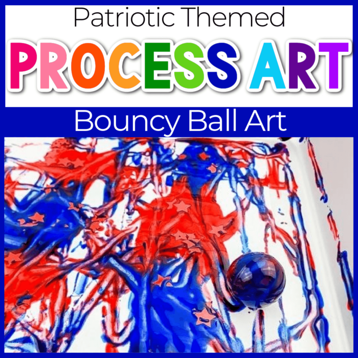 patriotic bouncy ball painting process art for kids