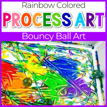 rainbow bouncy ball painting process art for kids