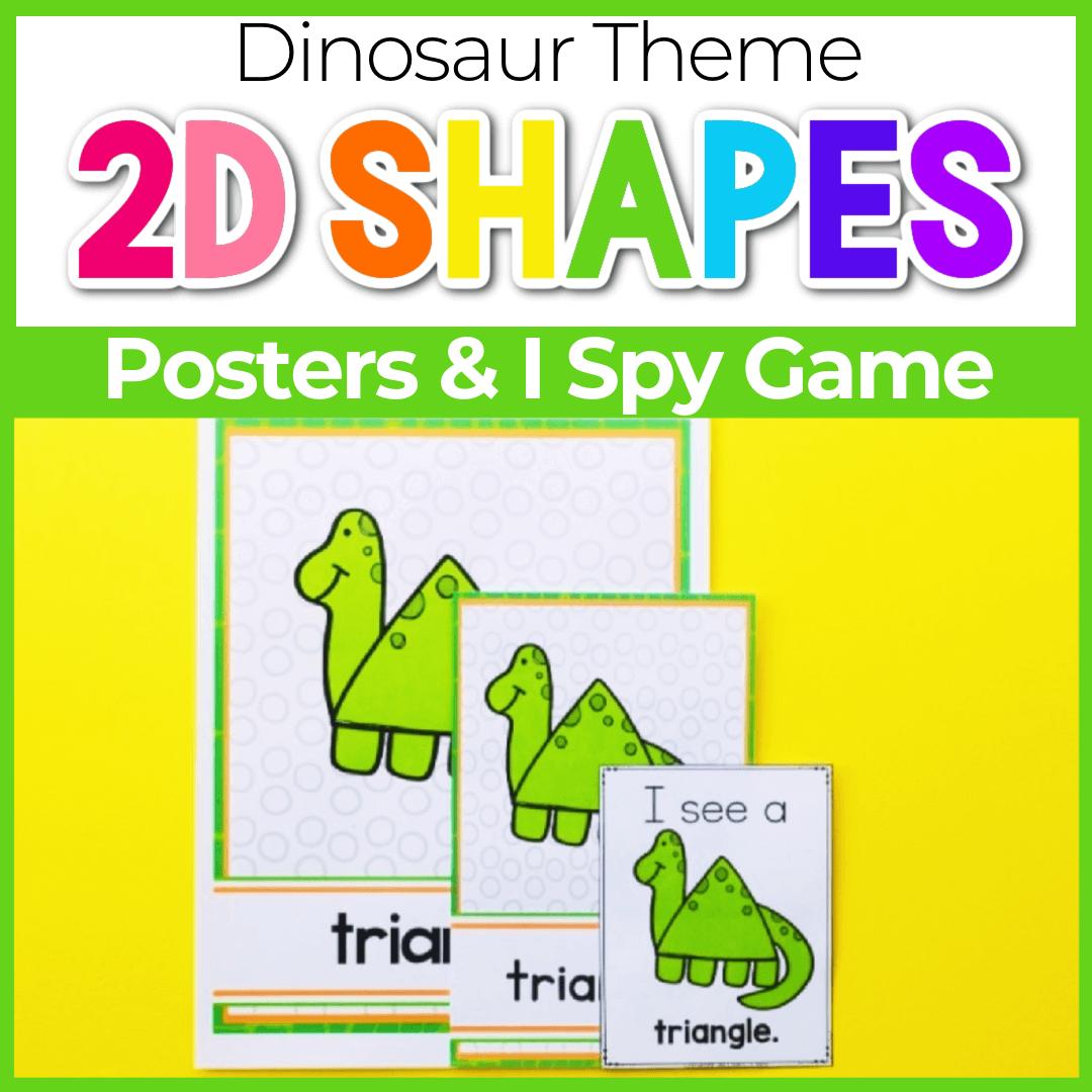 Dinosaur Free Printable 2D Shape Posters and I Spy Shape Hunt