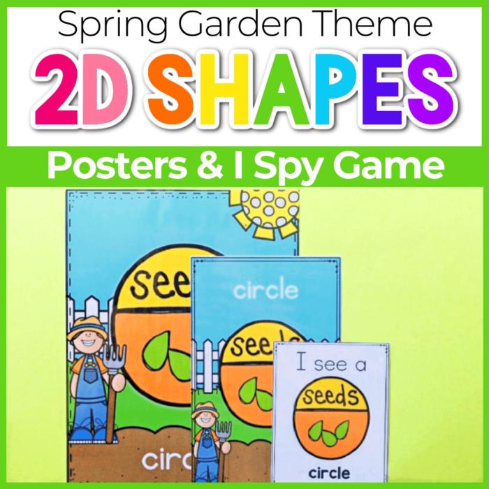 2D shape posters for preschool Spring Garden Theme