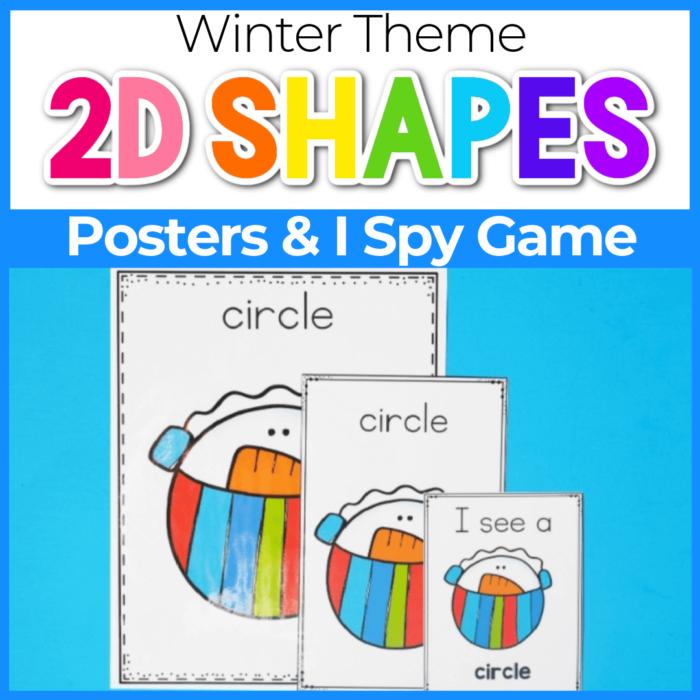 2D shape posters for preschool Winter Snowman Theme