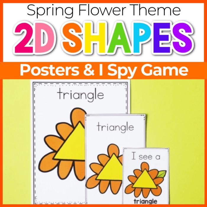 2D shape posters for preschool Spring Flower Theme