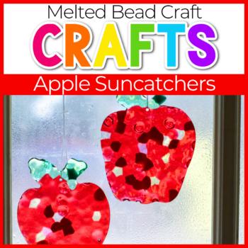 Melted bead apple suncatchers hanging on a window