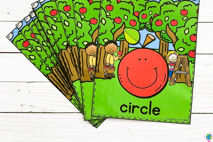 Overhead view of the full color Apple Theme Preschool 2D Shapes Poster Printables.