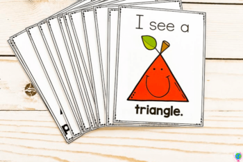 Overhead view of the quarter-page Apple Theme Preschool 2D Shapes Poster Printables.