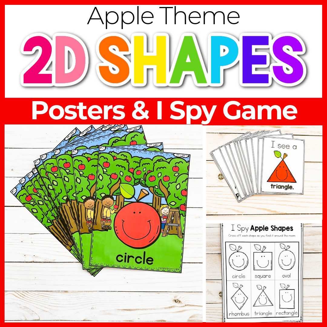 Free Apple Theme Preschool 2D Shapes Poster Printable