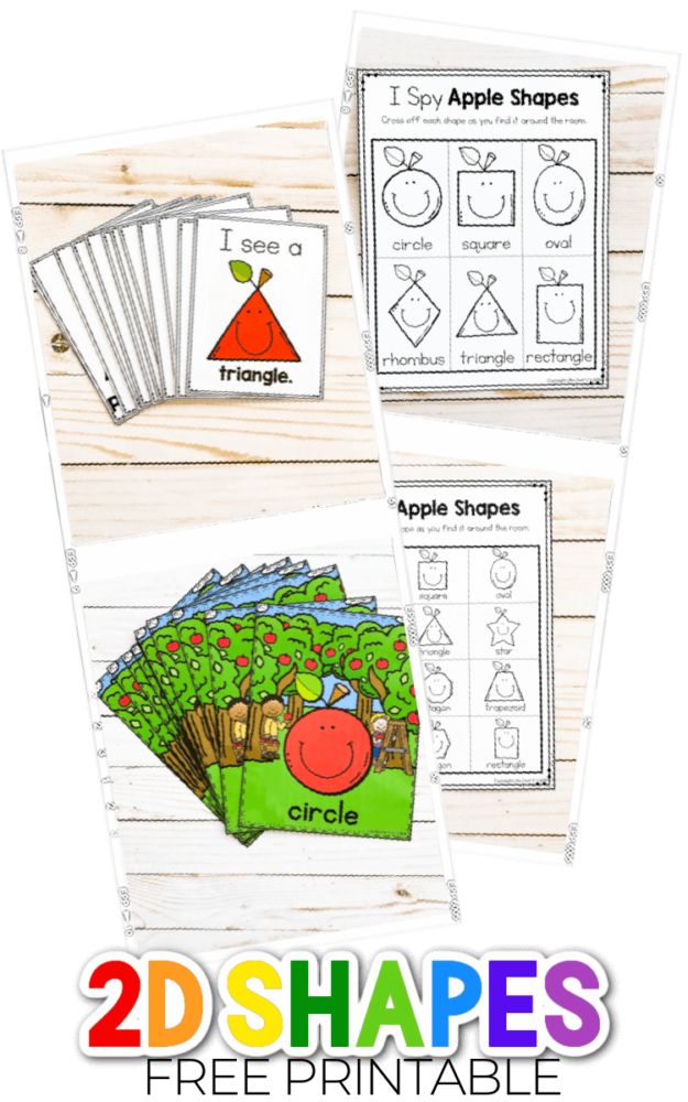 Overhead view of what's included in the Fall Apple 2D Shapes printables.