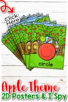 Apple Theme 2D Shape Posters