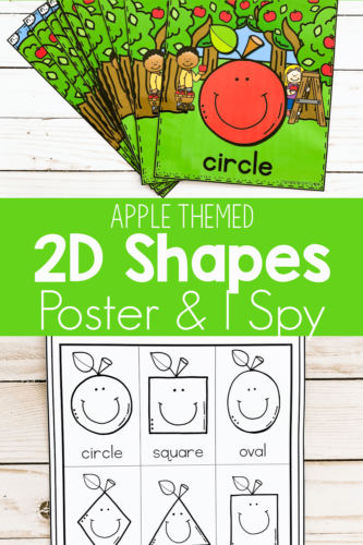 Apple Themed 2D Shapes Posters and I Spy