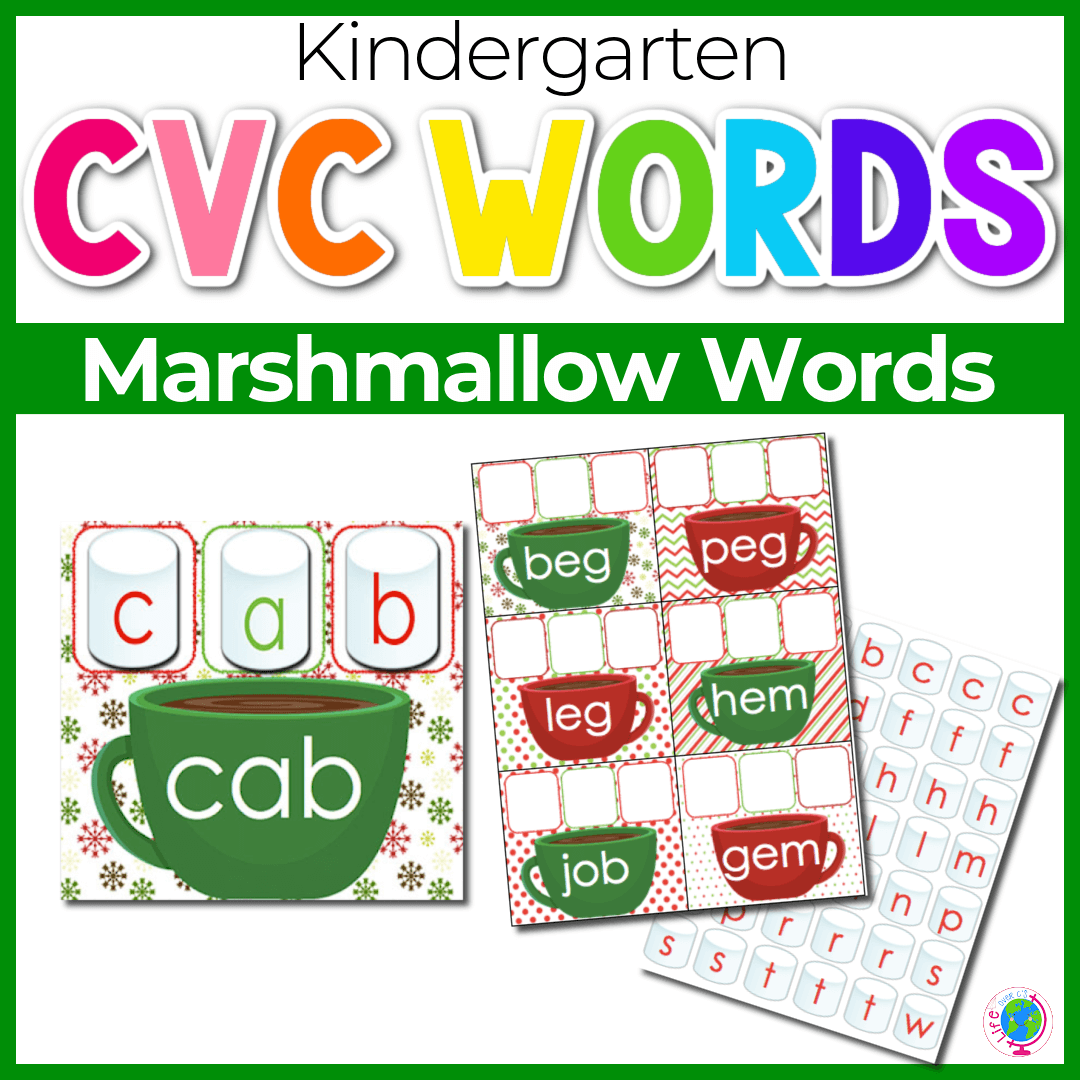 CVC Word Marshmallow Mats