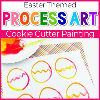 Easter themed painting with cookie cutters