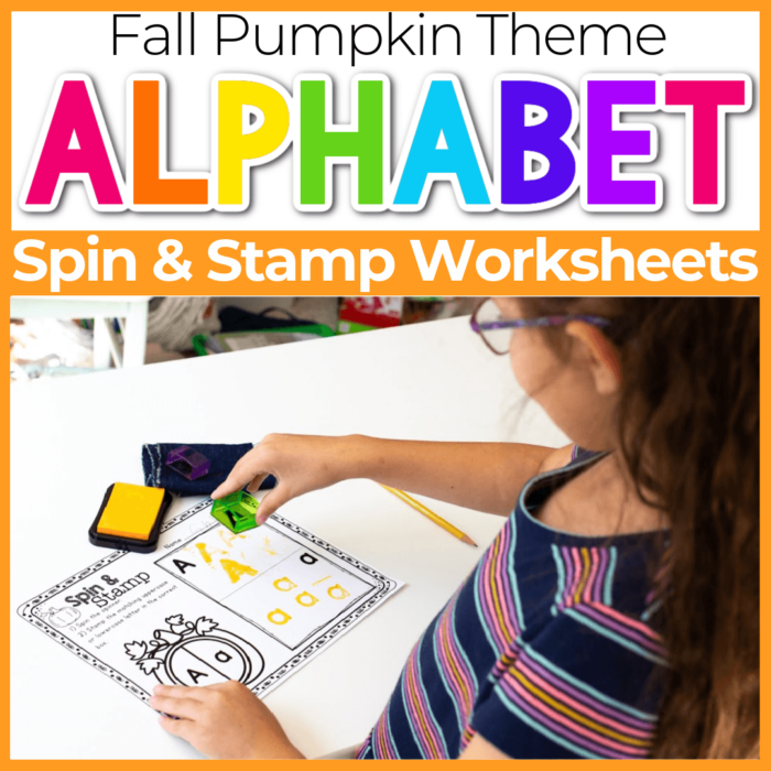 Spin and Stamp Alphabet Activity for Preschool Fall Pumpkin Theme