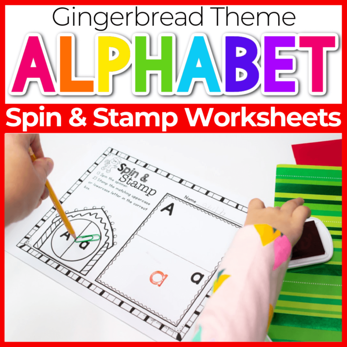Spin and Stamp Alphabet Activity for Preschool Gingerbread Theme