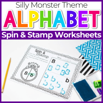 Spin and Stamp Alphabet Activity for Preschool Silly Monster Theme