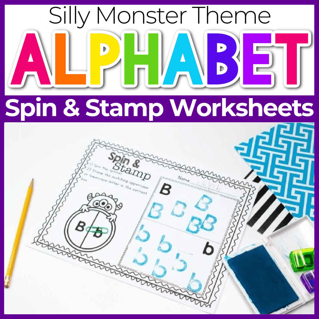Free Printable Monster Letter Recognition Spin and Stamp