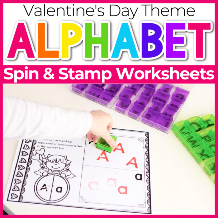 Spin and Stamp Alphabet Activity for Preschool Valentines Day Theme