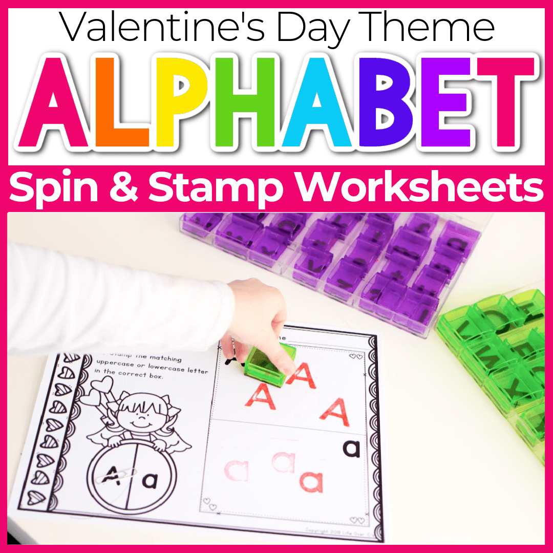 Free Printable Valentine Alphabet Worksheets: Spin and Stamp