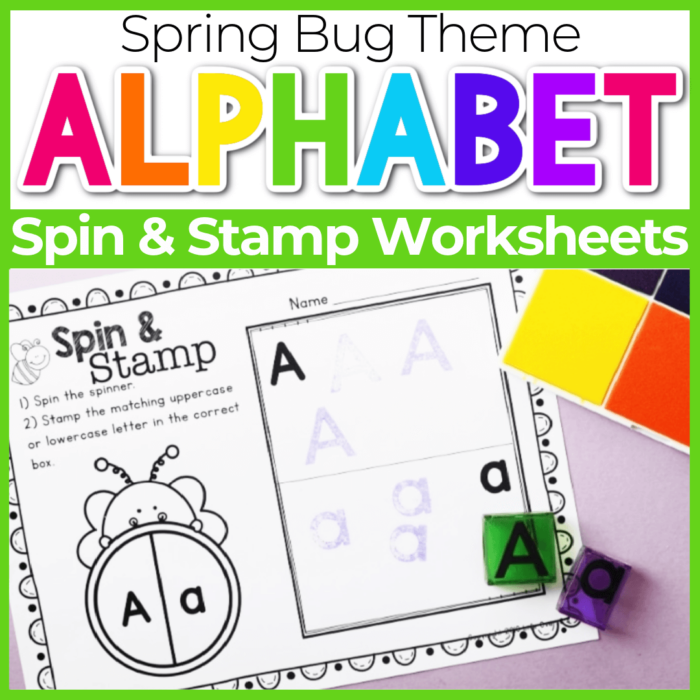 Spin and Stamp Alphabet Activity for Preschool Spring Bug Theme