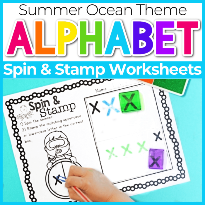 Spin and Stamp Alphabet Activity for Preschool Summer Ocean Theme