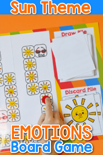 Learning about emotions is easy with this Printable Summer Sun Identifying Emotions Board Game! Teach your students social cues with this hands-on game!