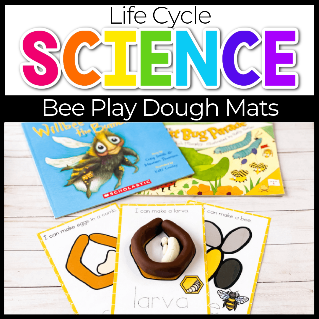 Free Printable Life Cycle of a Bee Play Dough Mats for Kids