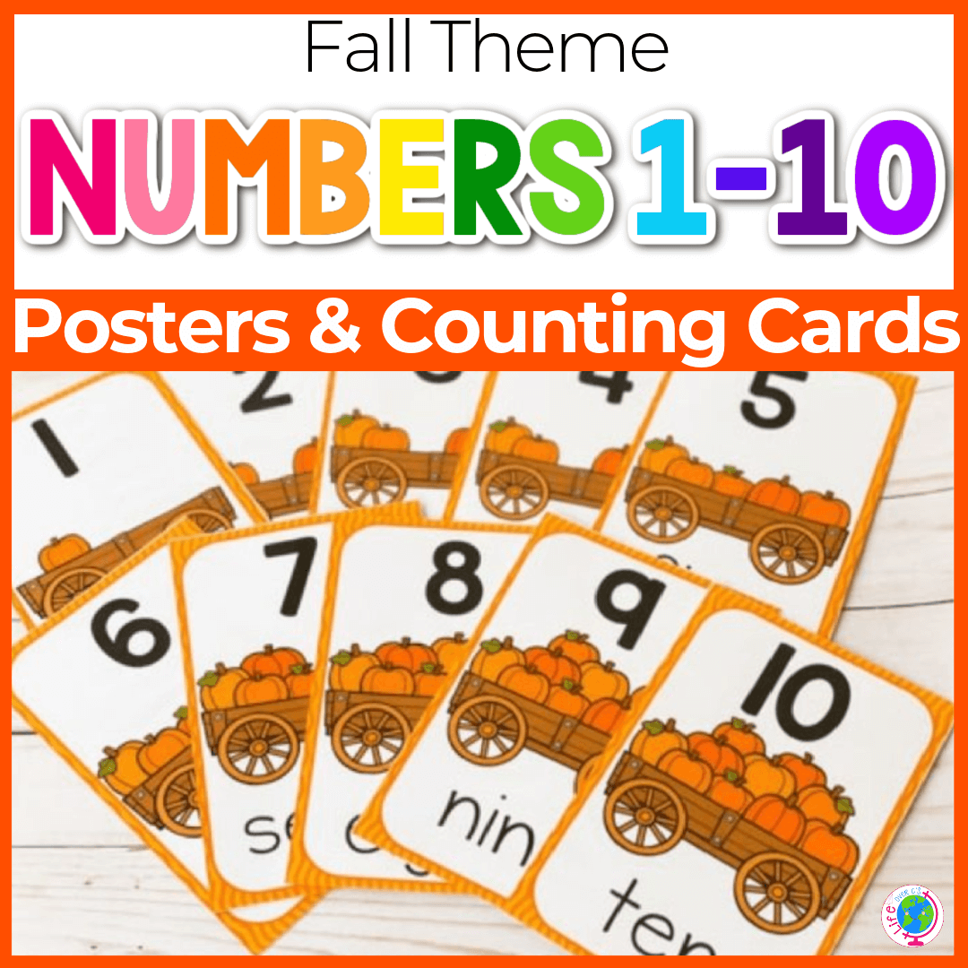 Free Pumpkin Theme Preschool Posters for Counting to 10