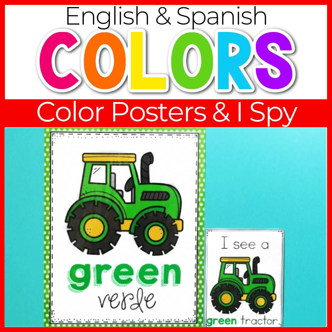Preschool Farm Animals Color Posters and I Spy Color Game