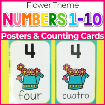 flower theme number posters for preschool