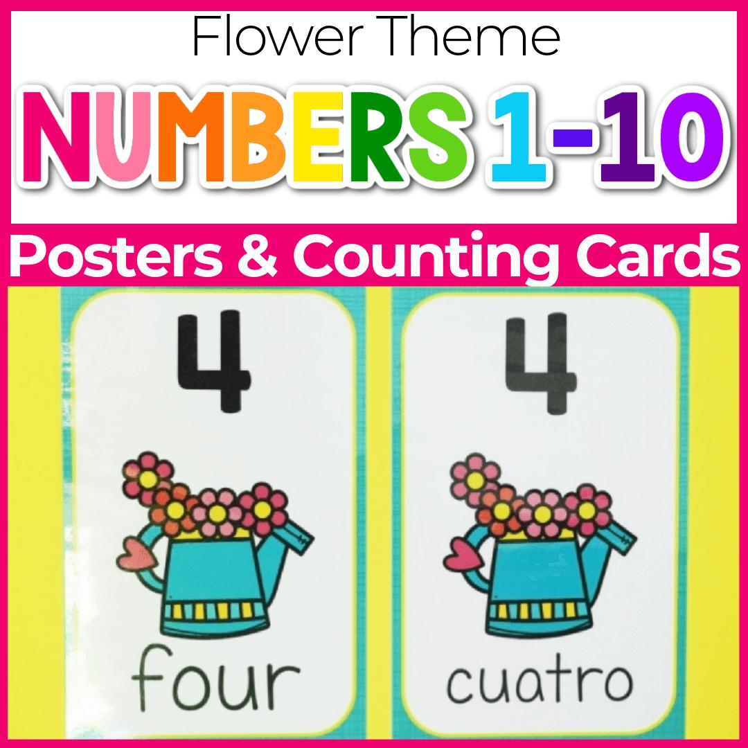 Spring Theme Preschool Number Poster Printable 1-10