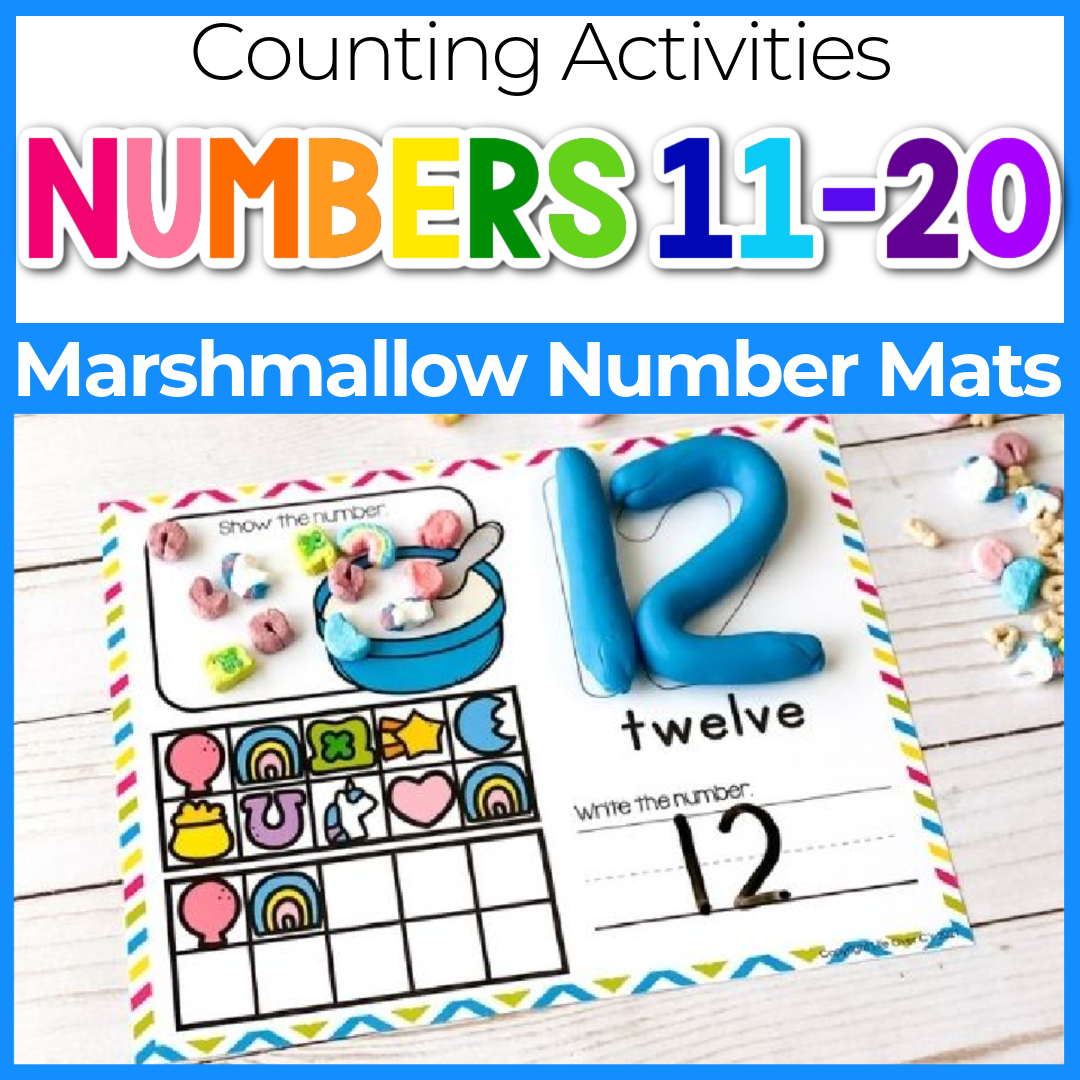 Free Marshmallow Counting Mats for Preschool Numbers 11-20