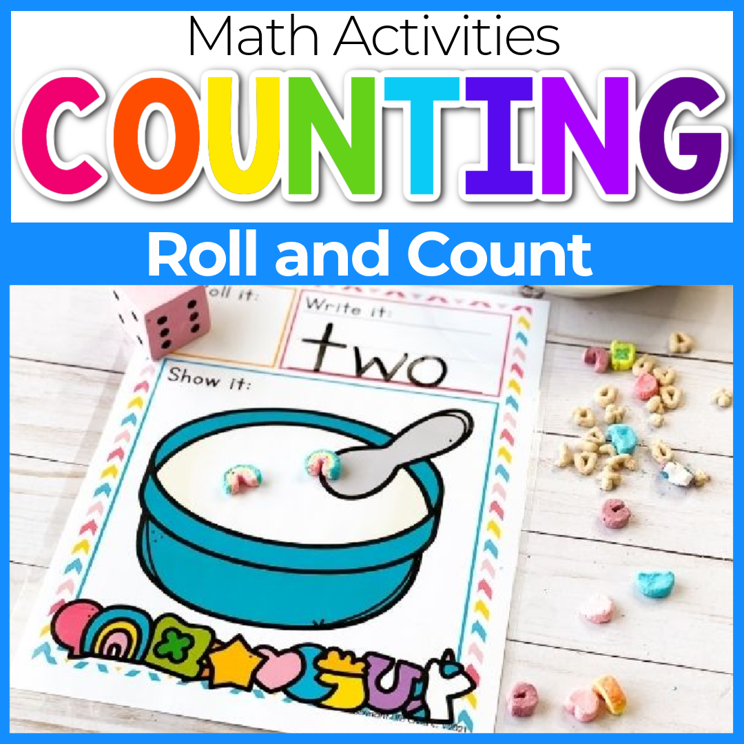 Marshmallow Roll and Count Game for Preschoolers