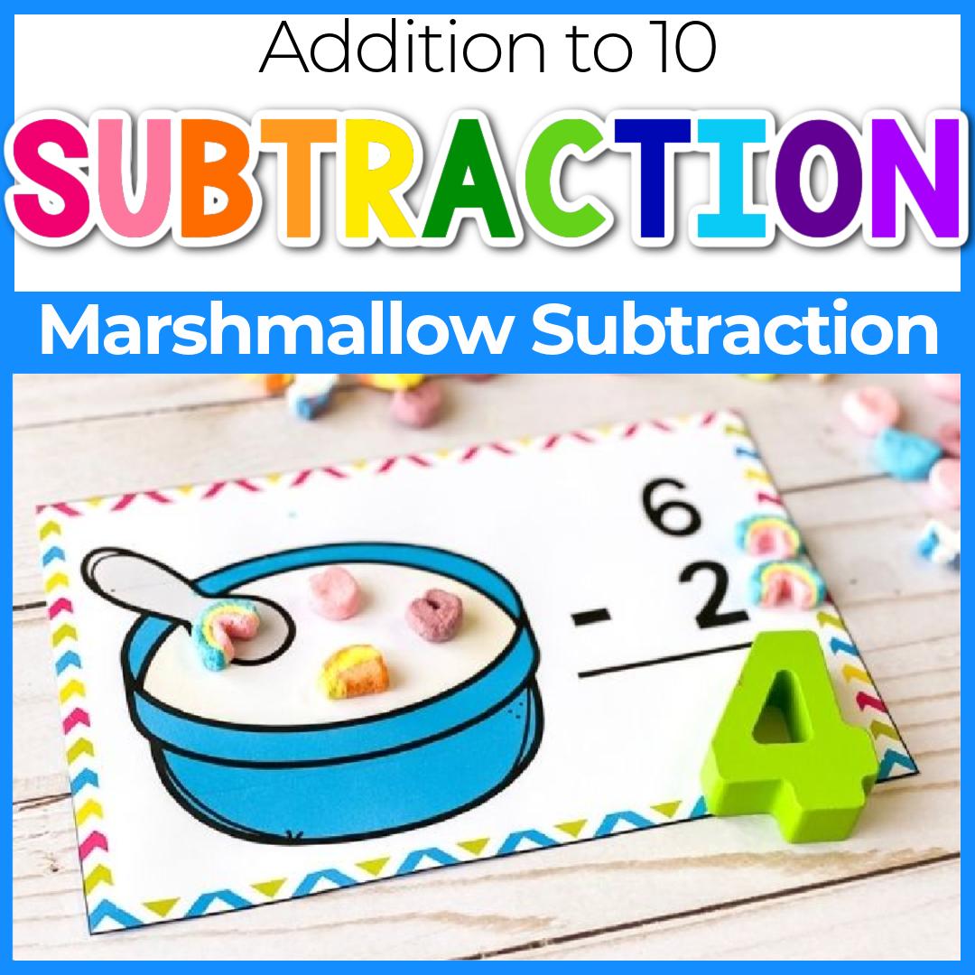 Printable Marshmallow Kindergarten Subtraction Problems