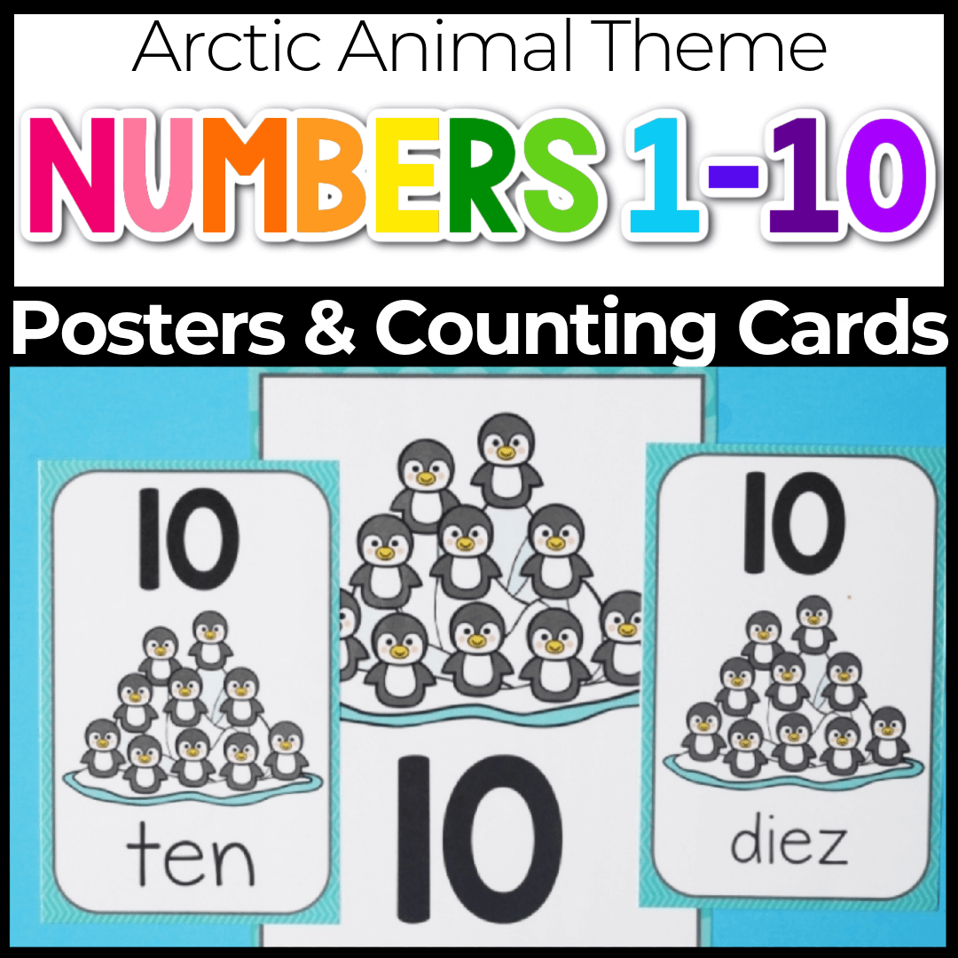 number posters for preschool arctic animal penguin theme
