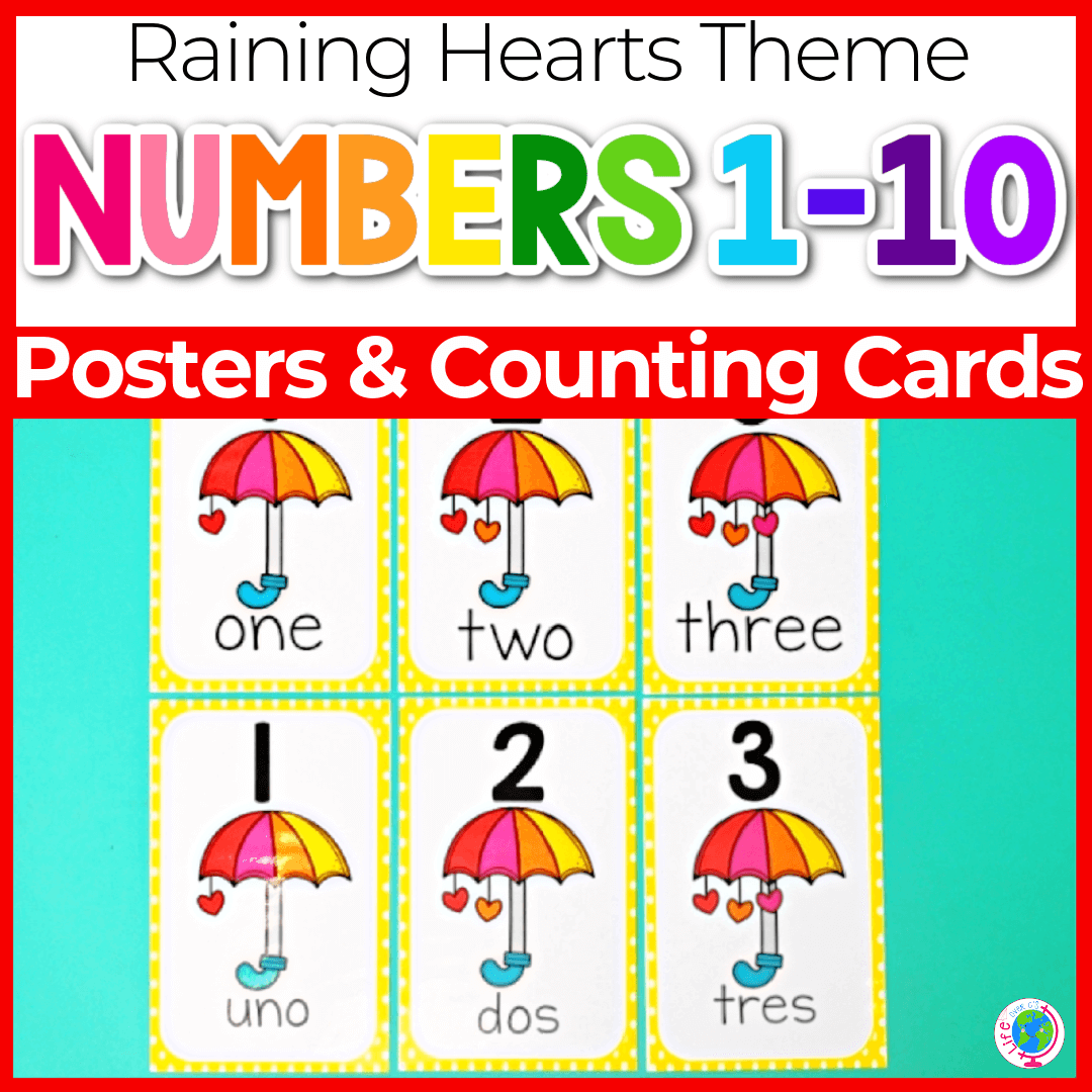 raining hearts number posters for preschool