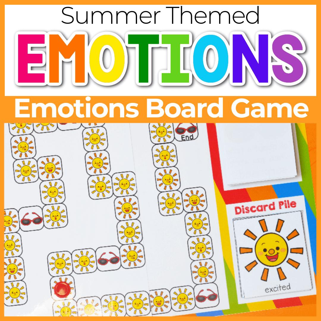 Printable Summer Sun Identifying Emotions Board Game