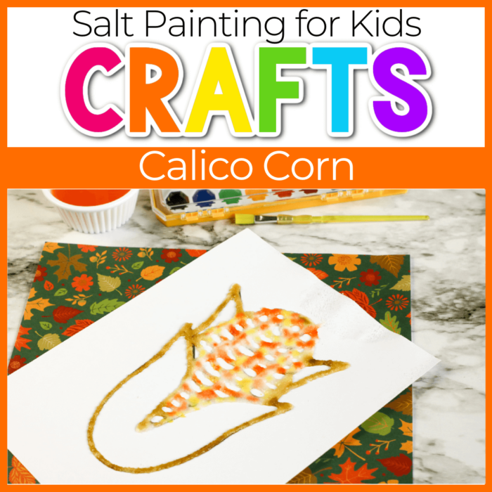 Fall Theme Calico Corn Salt Painting for Kids Featured Image