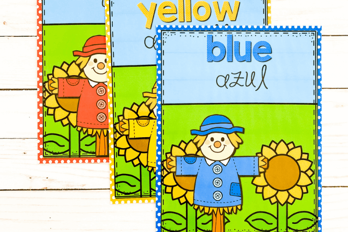 The fall theme scarecrow color posters for the colors red, yellow and blue.