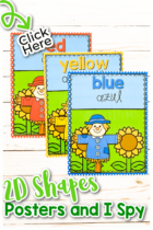 Fall Scarecrow Color Posters for preschool classrooms