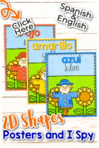 Fall Color Posters for preschool and kindergarten classrooms colored scarecrows
