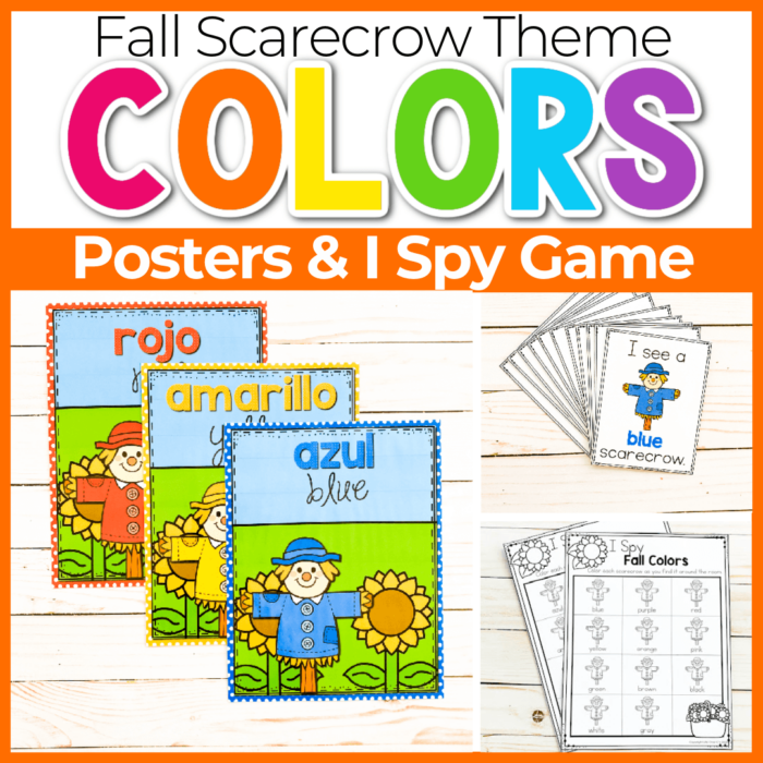 Fall Scarecrow Theme color posters for preschool