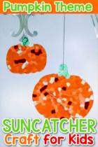 Pumpkin Theme Suncatcher Craft for Kids