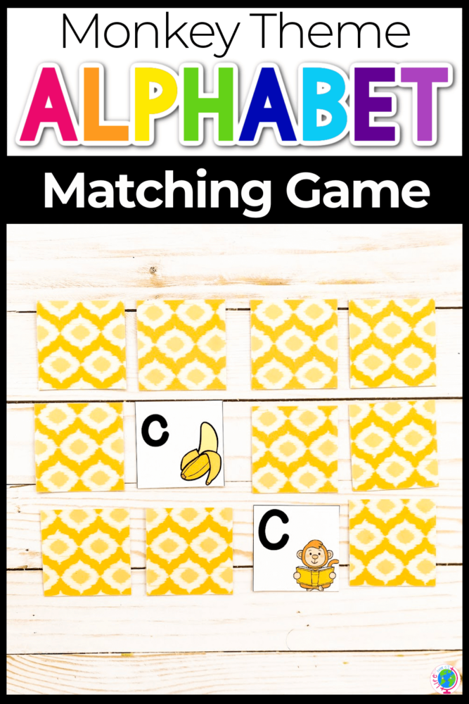 Free Monkey Theme Alphabet Matching Game