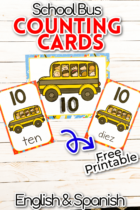 School Bus Counting Cards in English and Spanish