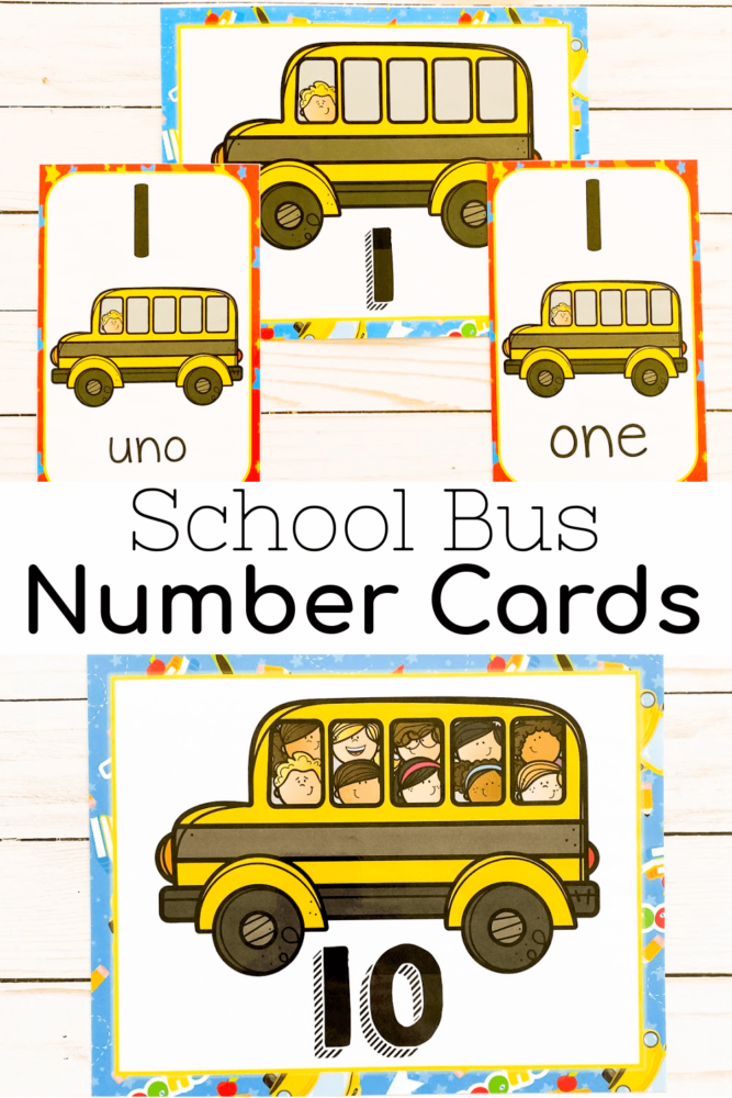 School Bus Number Cards for 1-10